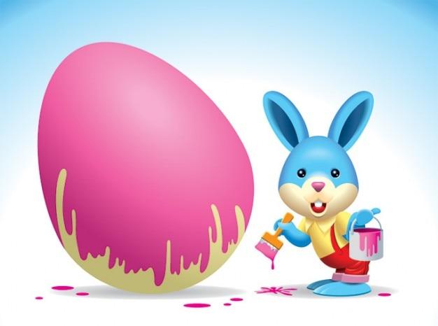 Easter bunny pittura un vettore di egg