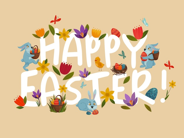 Easter greeting bright white lettering