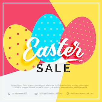 Easter sale banner con colorate tre uova