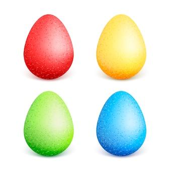 Eastercolorful easter eggs with different colors. accumulazione delle uova di pasqua su una priorità bassa bianca. illustrazione.