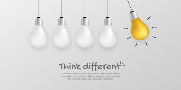 Eccezionale lampadina d'oro, pensa a diversi concetti aziendali