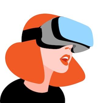 Eccitato donna che indossa casco vr per simulazione spaziale