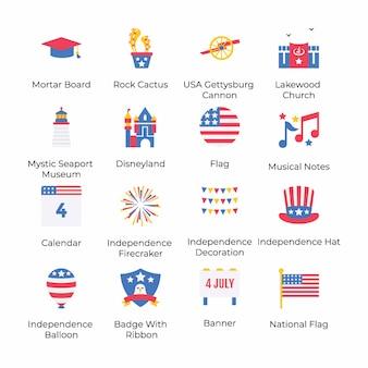 Ecco una serie di icone piatte per l'indipendenza americana, che concettualizzano la celebrazione del 4 luglio con la sua grafica accattivante. prendilo e usalo secondo le necessità del tuo progetto.