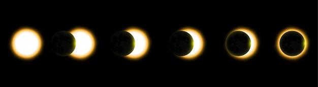 Eclissi solare totale, eclissi del sole. illustrazione vettoriale
