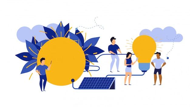 Eco energia, ambiente pulito illustrazione ecologia alternativa.
