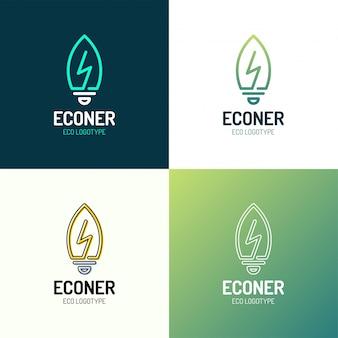 Eco lascia il logo di energia di potenza della lampadina