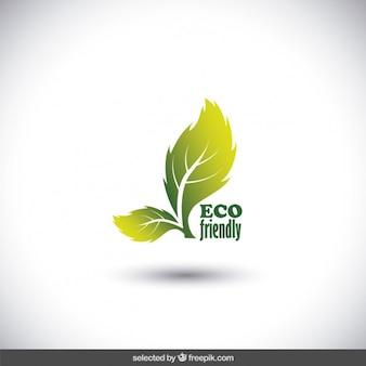 Eco logo realizzato con due foglie