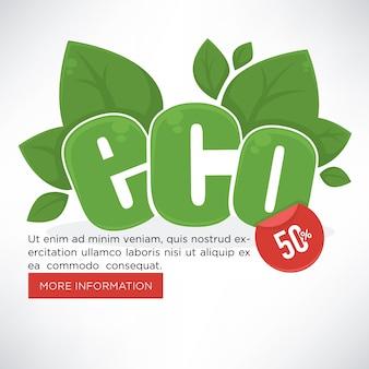 Eco, organico e verde, disegno del modello della bandiera di vettore