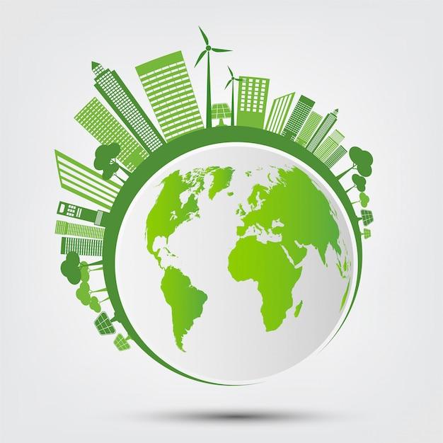 Ecologia e concetto ambientale, simbolo della terra con le foglie verdi intorno alle città aiutare il mondo con idee ecologiche