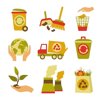 Ecologia e rifiuti icone colorate insieme di cestino può globo pianta isolato illustrazione vettoriale