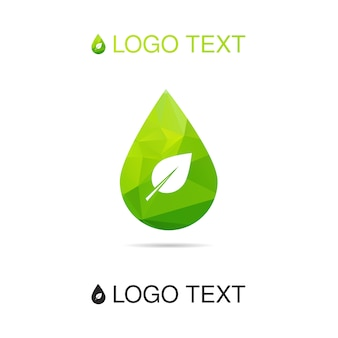 Ecologia logo acqua o icona con foglia, simbolo della natura, segno di goccia.