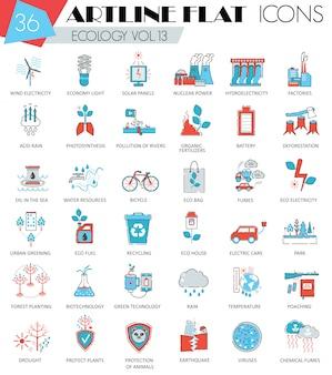 Ecologia, set di icone di linea piatta di energia verde