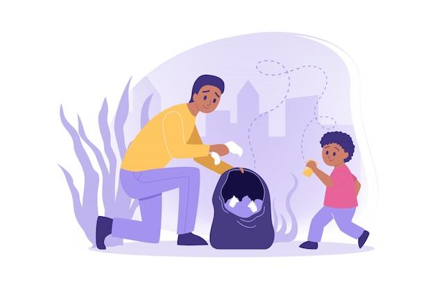 Ecologia, volontariato, concetto di cura dell'ambiente