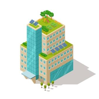 Ecologico dell'illustrazione della costruzione dell'appartamento o dell'hotel