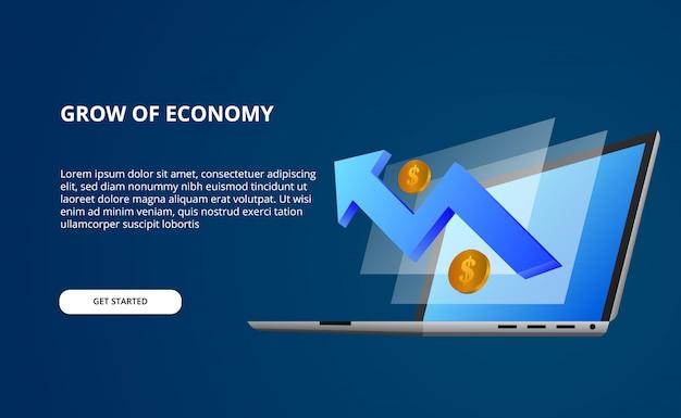 Economia di crescita dai dati con l'illustrazione 3d del computer portatile e dello schermo di prospettiva con la freccia blu rialzista e soldi dorati