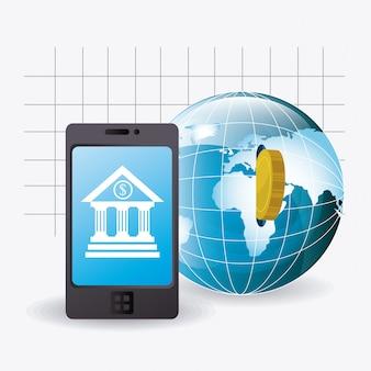 Economia globale, denaro e design aziendale.
