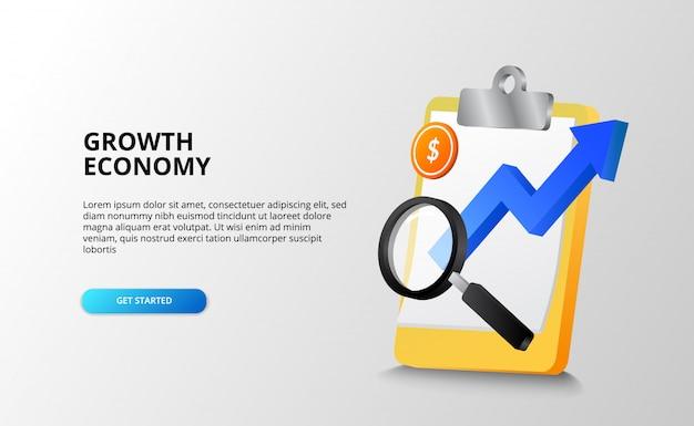 Economia in crescita e business per il futuro e il concetto di previsione con illustrazione della freccia blu, lente di ingrandimento, moneta d'oro. illustrazione della pagina di destinazione