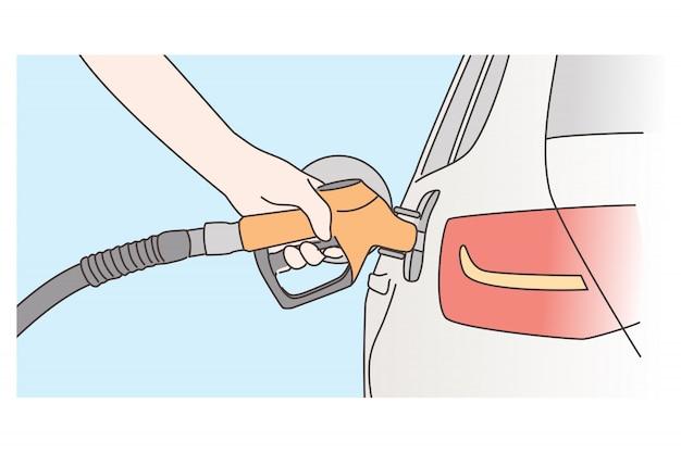 Economia, riempimento, concetto di benzina