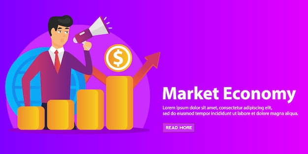 Economista con megafono, colonna della crescita economica e grafico della produttività del mercato. sviluppo economico, classifica dell'economia mondiale, concetto di economia di mercato.