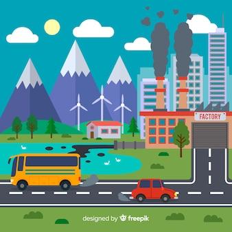 Ecosistema vs sfondo di inquinamento