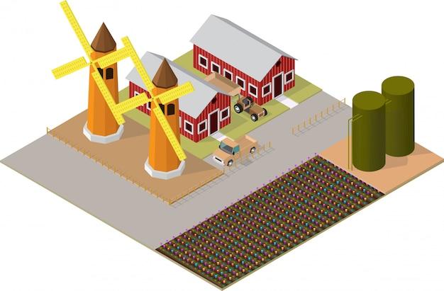 Edifici agricoli isometrici con giardini fioriti, mulino a vento
