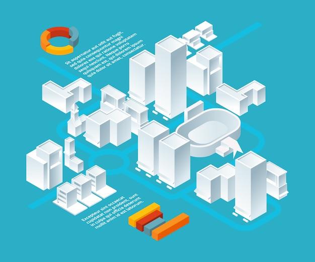 Edifici bianchi isometrici. paesaggio urbano 3d con vari edifici