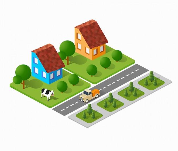 Edifici cittadini tridimensionali, case a schiera, case, supermercati, strade e strade.