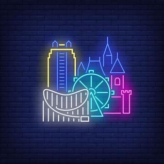 Edifici della città di orlando e insegna al neon disneyland. sightseeing, turismo, viaggi.