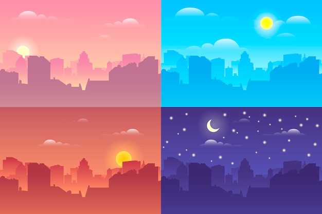 Edifici della città in tempi diversi