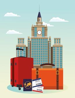 Edifici iconici della città e valigie da viaggio con passaporto e passboard nel cielo