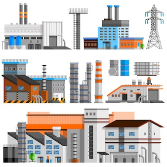 Edifici industriali set ortogonale