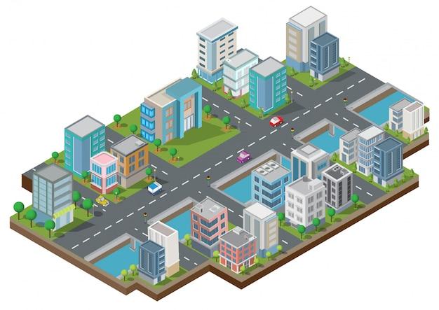 Edifici isometrici con cortile, fiume, strada e alberi