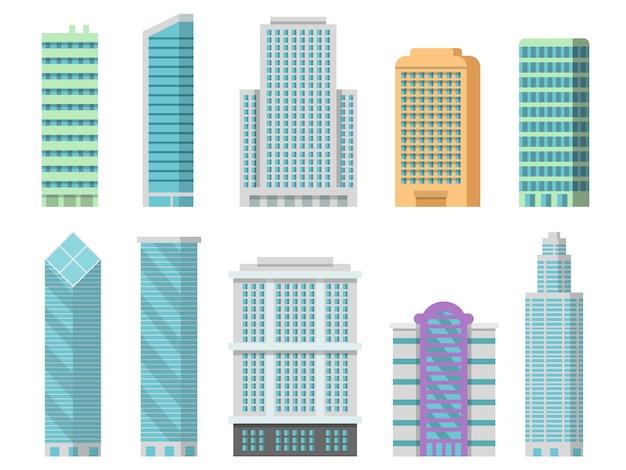 Edifici per uffici isolati su bianco dei moderni grattacieli