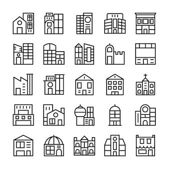 Edifici, punti di riferimento linea icone