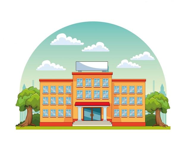 Edifici scolastici nello scenario del parco