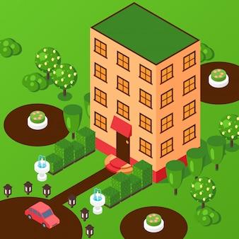 Edificio a più piani della casa isometrica. vista prospettica dall'alto, facciata dell'hotel o dell'ufficio, edificio residenziale. casa con parco, progetto immobiliare