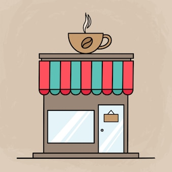 Edificio carino caffetteria per icone o elementi con design piatto