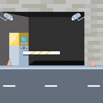 Edificio con entrata della zona parcheggio e barricata