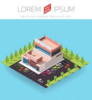 Edificio del supermercato isometrico.