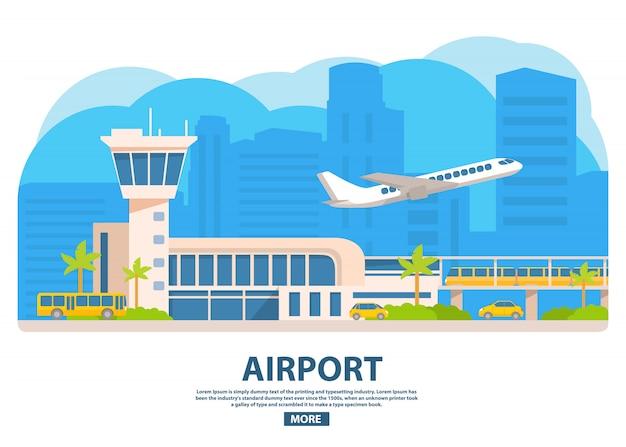 Edificio dell'aeroporto. treno elettrico, taxi giallo, autobus turistico. aereo delle compagnie aeree passeggeri. torre di rinvio del terminal.