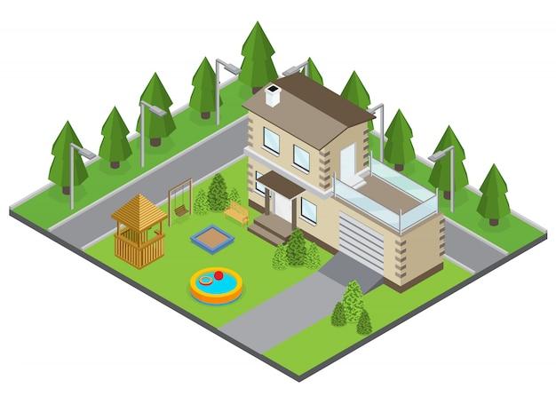Edificio di campagna con piscina nel cortile e strada isometrica