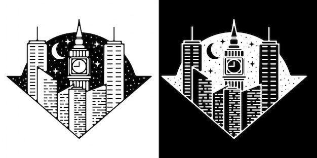 Edificio di design vintage monoline badge e torre del big ben