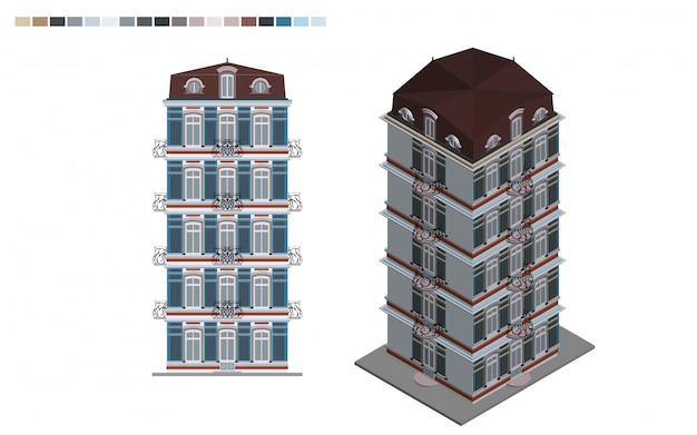 Edificio governativo isometrica casa amministrativa di stile architettonico