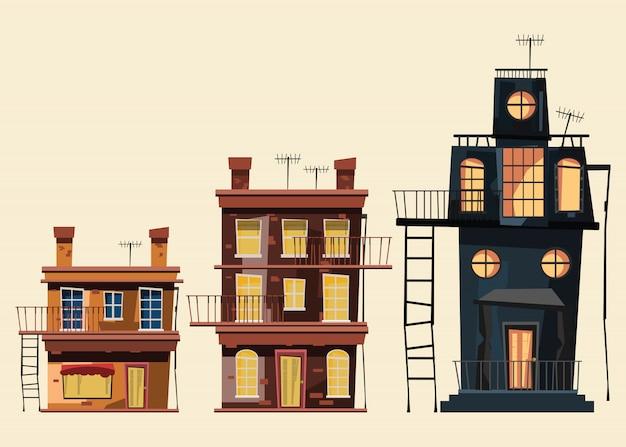 Edificio impostato in illustrazione vettoriale città