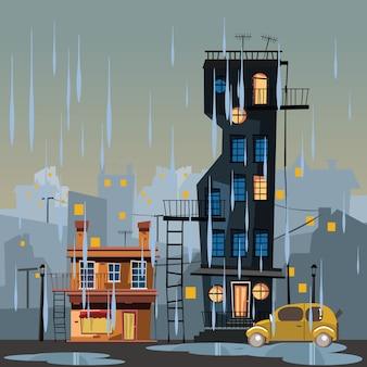 Edificio in illustrazione vettoriale giornata di pioggia
