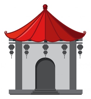 Edificio in stile cinese con tetto rosso