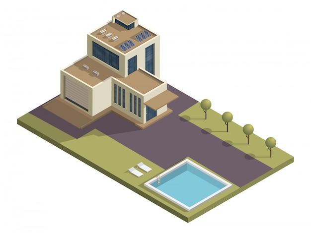 Edificio isometrico con piscina e giardino.