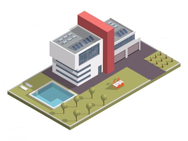 Edificio isometrico con piscina e tavolo da pranzo lungo il giardino.