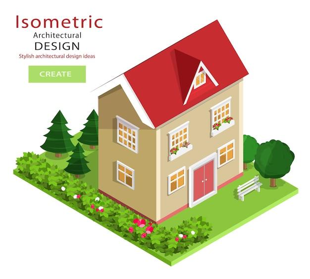 Edificio isometrico dettagliato e colorato moderno. casa isometrica grafica con cortile verde.