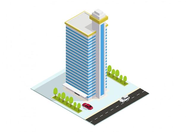 Edificio isometrico di hotel, appartamenti o grattacieli
